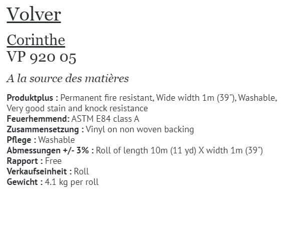 Tapete Elitis Volver Corinthe VP 920-05 Info